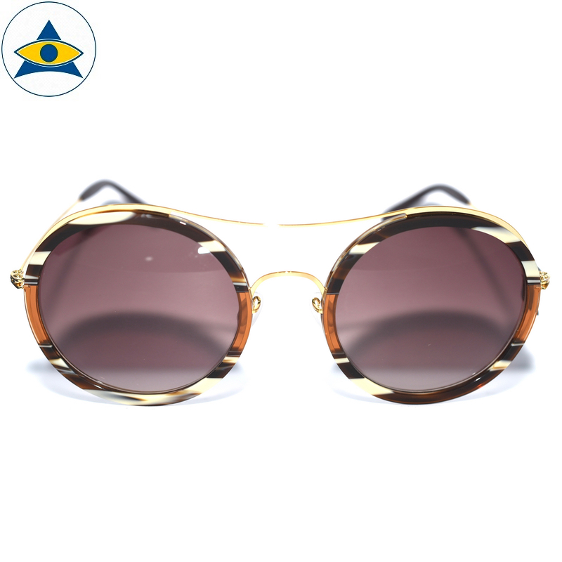 JS-7705 BrownIvoryHavana-Gold w Brown2 S54-25 1 Tampines Optical Admiralty Optical