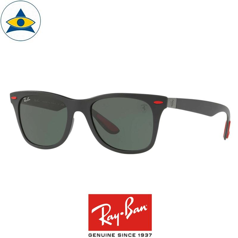 ba76e855ec rayban scuderia ferrari sunglass RB4195M F60271 Black with Green s52-20   388 tampines admiralty optical