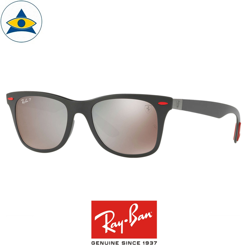 rayban scuderia ferrari sunglass RB4195M F602H2 Black with SilverMirrorChromancePOLAR s52-20 $448 tampines admiralty optical 1