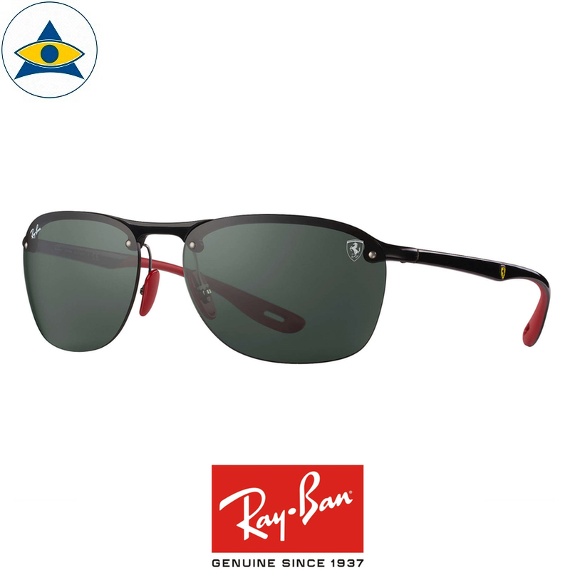 rayban scuderia ferrari sunglass RB4302M F60171 Black red with green s62-17 $398 tampines admiralty optical 1