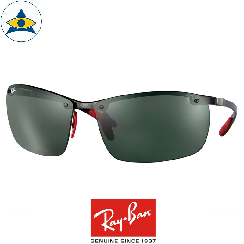 rayban scuderia ferrari sunglass RB8305M F00571 Black with green s64-14 $448 tampines admiralty optical 1
