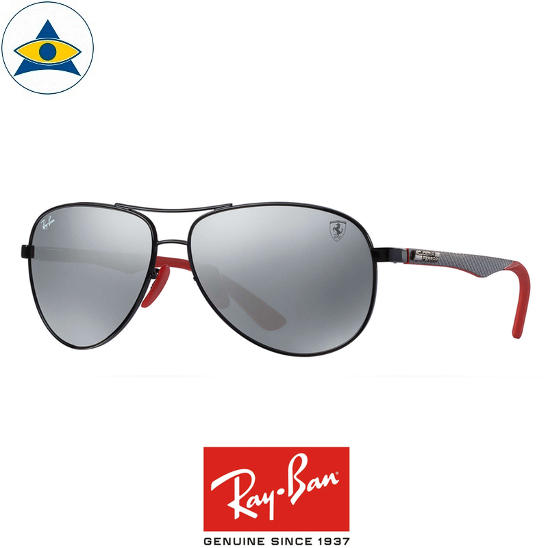 rayban scuderia ferrari sunglass RB8313M F0096G black red with greymirror s61-13 $458 tampines admiralty optical 1