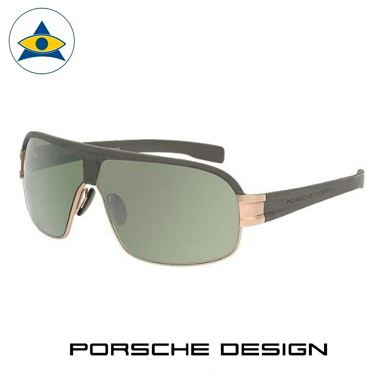 Porsche P 8517 D Gun Grey with Gold, green iridium lens s68-16 $588 1 eyewear frame tampines admiralty optical