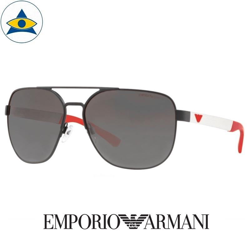 emporio armani sunglass 2064 3223:81 black silver red with grey s6218 328 2