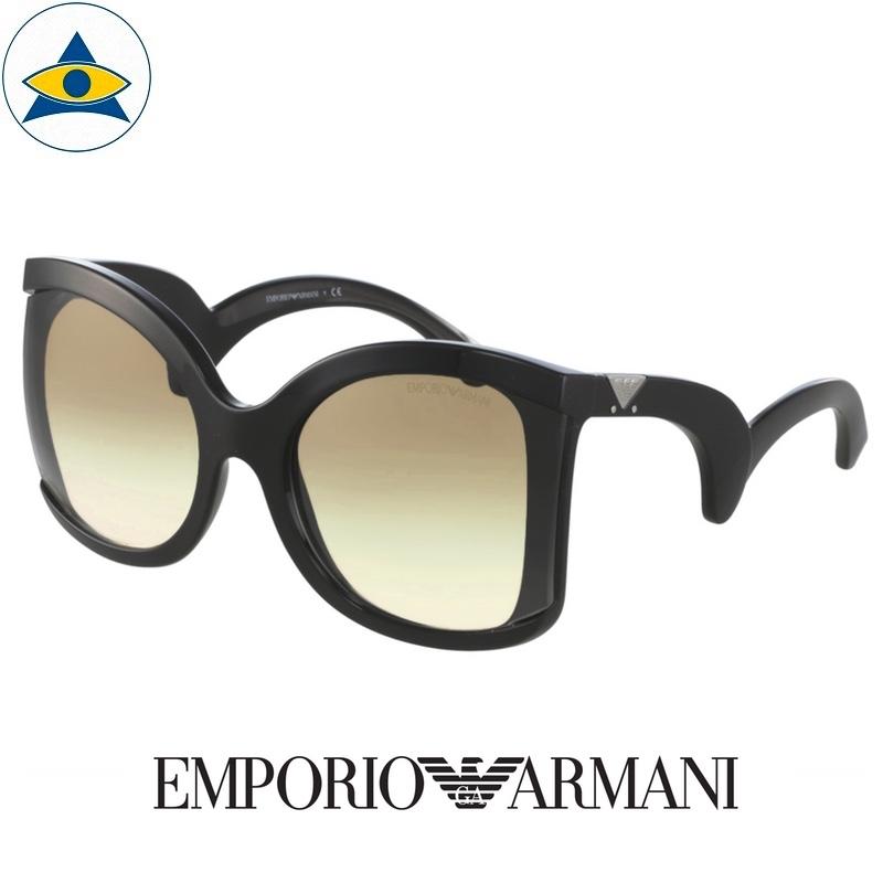 emporio armani sunglass 4083 5017:8e black with light brown 2 tone s5921 338 2