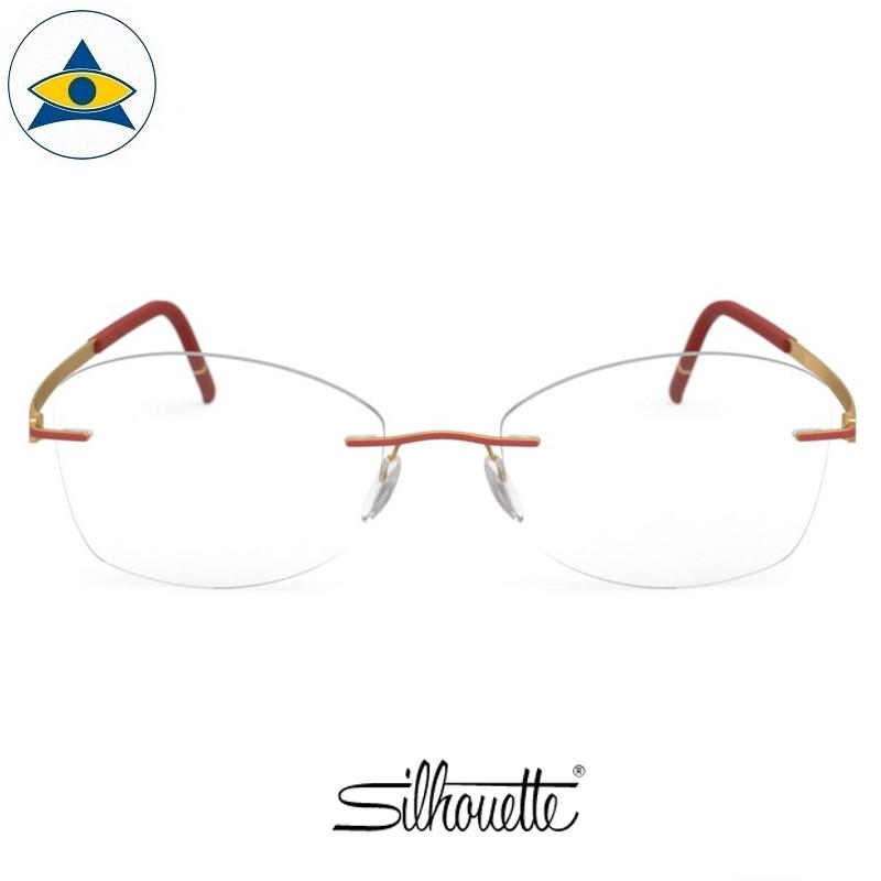 Silhouette eyewear 5529 Momentum Rimless 3021 Gold-Siena Red s5317 $518 1