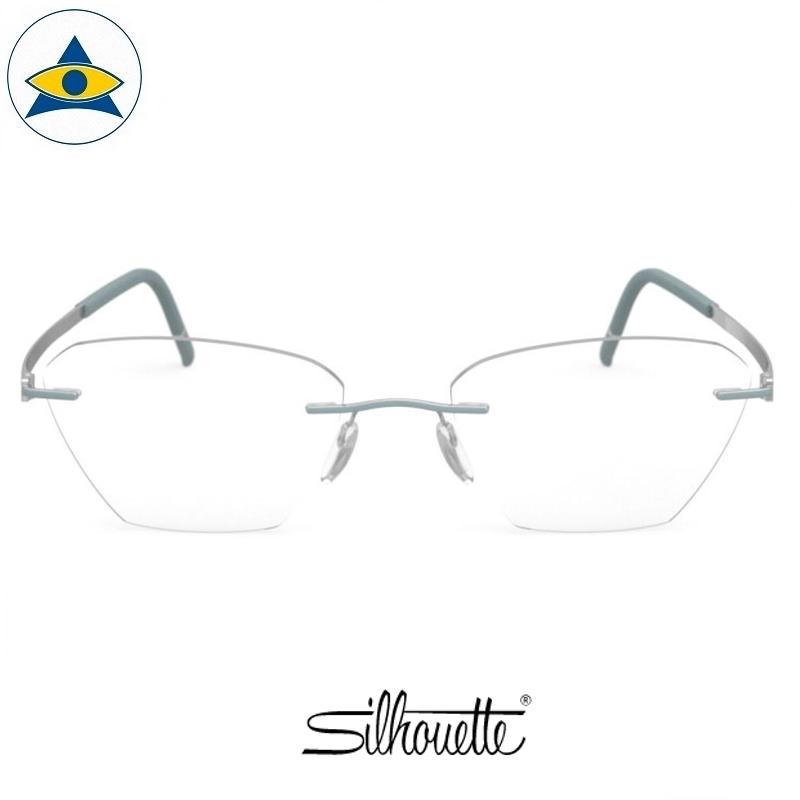 Silhouette eyewear 5529 Momentum Rimless 5011 Silver-Azure Blue s5317 $518 1