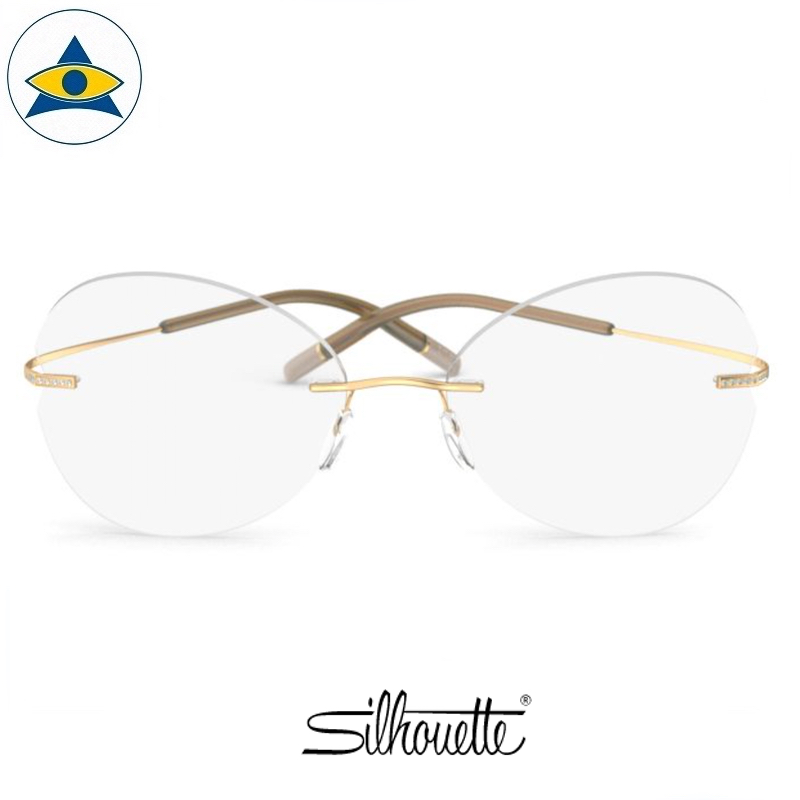 Silhouette eyewear 5538 TMA Rimless 7521 Gold Crystal s5417 $648 1