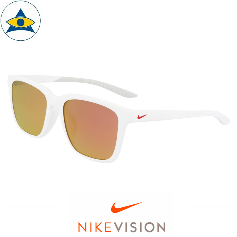 Nike Sunglass DC 7446 RHYME AF M 900 Matte White-Red w Red Mirror s56-18 178 Tampines Optical Admiralty Optical 1